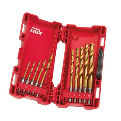 Set 10 burghie HSS-G Titanium Red Hex 1/4'' pentru metal, Ø3.0-10.0mm, Milwaukee