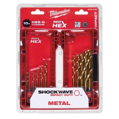 Set 10 burghie HSS-G Titanium Red Hex 1/4'' pentru metal, Ø3.0-10.0mm, Milwaukee