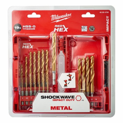 Set 19 burghie HSS-G Titanium Red Hex 1/4'' pentru metal, Ø2.0-10.0mm, Milwaukee